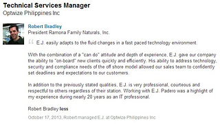 E.J. Padero, as recommended by Robert Bradley at Optwize Philippines, Inc.